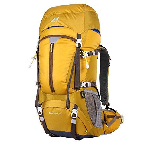 Eshow Trekkingrucksäcke 50L Wanderrucksäcke mit Regenschutz Reiserucksack wasserabweisend für Damen und Herren zum Reisen Wandern und Bergsteigen gelb schwarz blau rot grün